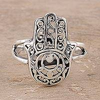 Sterling silver cocktail ring, 'Jali Hamsa'