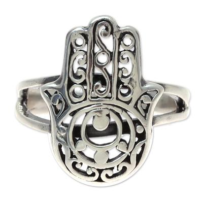 Sterling silver cocktail ring, 'Jali Hamsa' - Sterling Silver Jali Hamsa Cocktail Ring from India