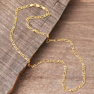 e788f5f4ca5a4 22k Gold Plated Sterling Silver Chain Necklace (3 mm), 'Shimmering Flair'