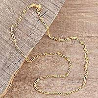 Gold plated sterling silver chain necklace, 'Shimmering Flair' (2 mm)