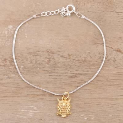 Gold Accented Sterling Silver Owl Chain Bracelet From India Golden