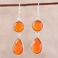 Carnelian dangle earrings, 'Fiery Charm' - 13.5-Carat Carnelian Dangle Earrings from India