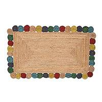 Jute area rug, 'Natural Circles' (3x5) - Jute Area Rug with Colorful Circles from India (3x5)