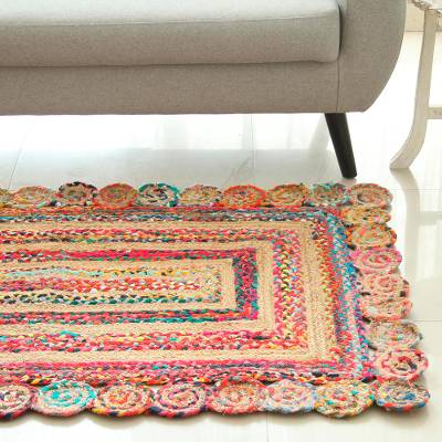Jute and recycled cotton area rug, 'Festive Charm' (3x5) - Jute and Recycled Cotton Area Rug from India (3x5)