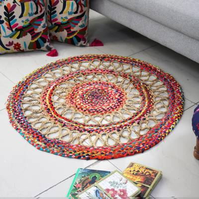 Jute and recycled cotton area rug, 'Opulent Mandala' (3 ft) - Jute and Recycled Cotton Area Rug from India (3 Feet Diam.)