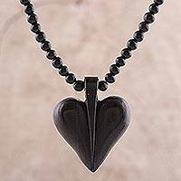 Ebony wood beaded pendant necklace, 'Heart Adoration' - Heart-Shaped Ebony Wood Beaded Pendant Necklace