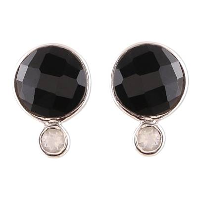 Onyx and Rainbow Moonstone Button Earrings from India