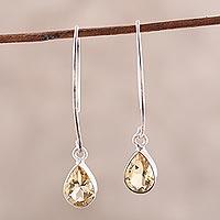 Citrine dangle earrings, 'Golden Luster'