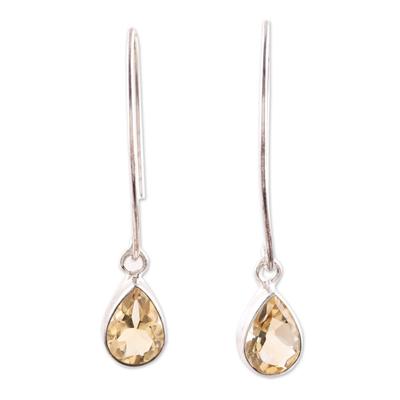 Citrine dangle earrings, 'Golden Luster' - 4-Carat Citrine Dangle Earrings from India