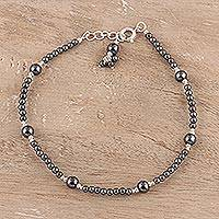 Hematite beaded anklet, 'Natural Gleam' - Hematite and Sterling Silver Anklet Crafted in India