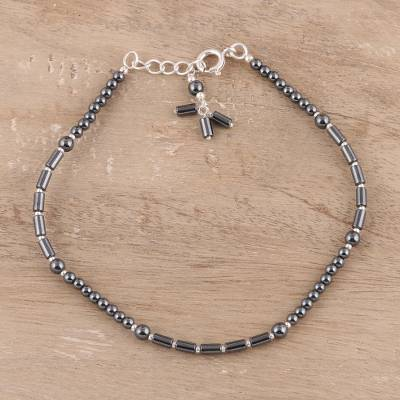e7f1c7194d082 Hematite and Sterling Silver Beaded Anklet from India, 'Gleaming Muse'