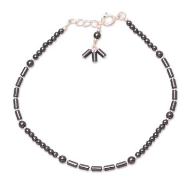 Hematite beaded anklet, 'Gleaming Muse' - Hematite and Sterling Silver Beaded Anklet from India