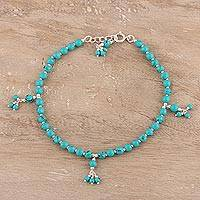 Sterling silver and composite turquoise beaded anklet,