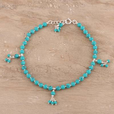 Composite turquoise beaded anklet, 'Turquoise Flair' - Sterling Silver and Composite Turquoise Beaded Anklet