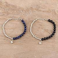 Onyx and lapis lazuli beaded bracelets, 'Glamorous Couple' (pair) - Lapis Lazuli and Onyx Bracelets from India (Pair)