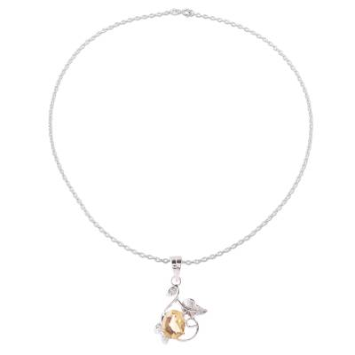 Leafy Rhodium Plated Citrine Pendant Necklace from India