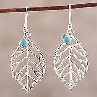 Sterling silver dangle earrings, 'Leafy Desire'