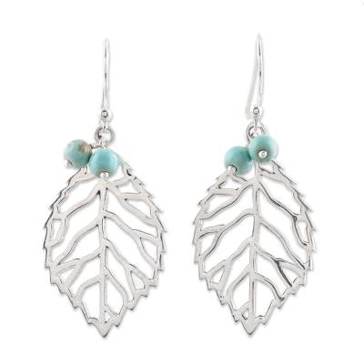 Sterling silver dangle earrings, 'Leafy Desire' - Leafy Sterling Silver and Composite Turquoise Earrings