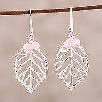 Rose quartz dangle earrings, 'Leafy Desire' - Leafy Rose Quartz Dangle Earrings from India
