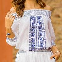 Cotton off-the-shoulder tunic, 'Moroccan Charm' - White Cotton Off-The-Shoulder Tunic with Moroccan Embroidery