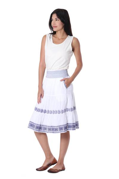Embroidered Cotton Skirt in Lapis from India
