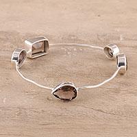 Smoky quartz bangle bracelet,