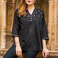 Cotton tunic, 'Stars at Midnight'