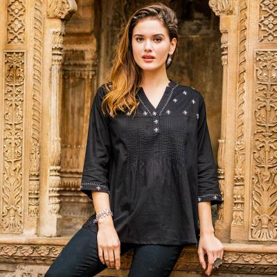 Cotton tunic, 'Stars at Midnight' - Black 100% Cotton Tunic Pin Tuck Detail and Ecru Embroidery