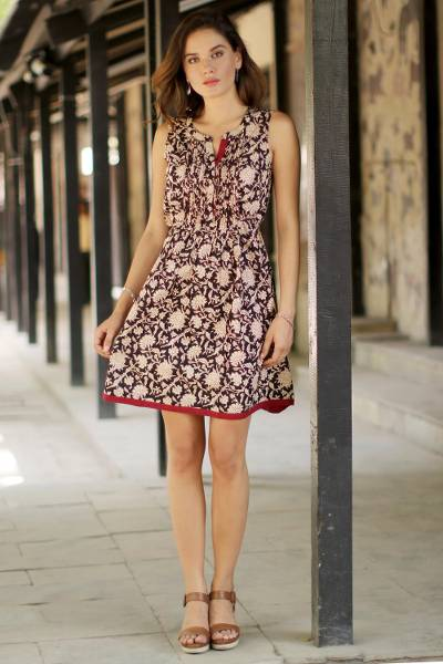 Cotton A-line dress, 'Ivory Garden' - Floral Printed Cotton A-Line Dress in Ivory and Black