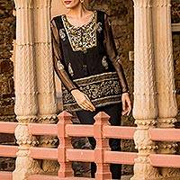 Viscose tunic, 'Kashmiri Night Sky' - Paisley Pattern Viscose Tunic from India