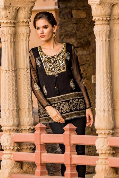 Viscose tunic, 'Kashmiri Night Sky' - Paisley Pattern Viscose Tunic from India
