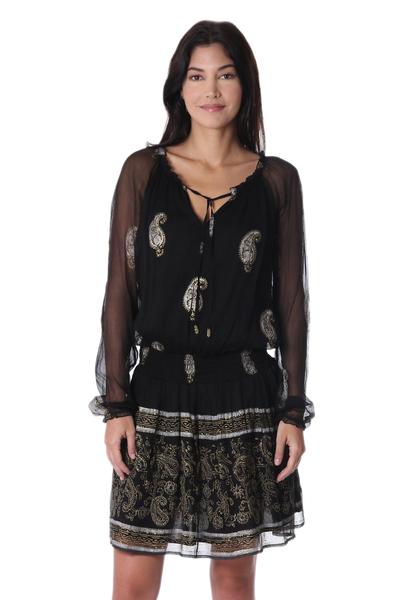 Block Printed Paisley Motif Viscose A-Line Dress from India