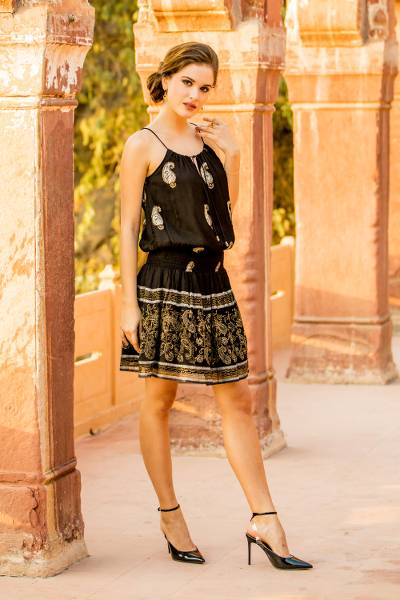 Viscose sleeveless A-line dress, 'Paisley Midnight' - Paisley Motif Viscose Sleeveless A-Line Dress from India