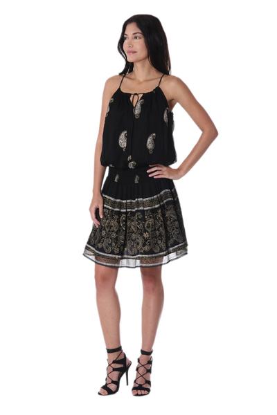 Paisley Motif Viscose Sleeveless A-Line Dress from India