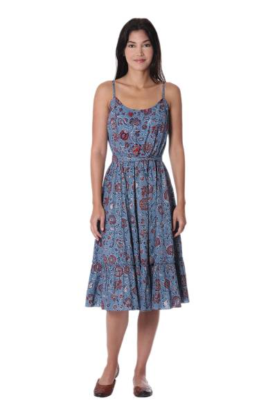 Cotton sundress, 'Garden Bliss' - Floral Printed Cotton Sundress in Cerulean from India