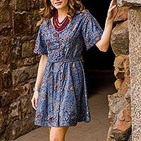 Cotton tunic-style dress, 'Garden Bliss' - Floral Printed Cotton Tunic-Style Dress in Cerulean