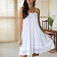 Cotton sundress, 'Cool Style' - Floral Embroidered Cotton Sundress from India