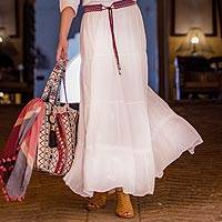Cotton skirt, 'White Innocence' - Embroidered White Cotton Skirt from India