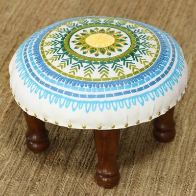 Rayon-embroidered cotton stool, 'Creative Charm' - Floral Embroidered Cotton Stool from India