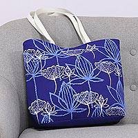 Cotton tote, 'Lapis Garden' - Embroidered Floral Cotton Tote in Lapis from India