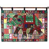 Recycled cotton blend patchwork wall hanging, 'Elephant Color' - Elephant-Themed Recycled Cotton Blend Wall Hanging