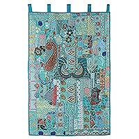 Recycled cotton blend patchwork wall hanging, 'Blue Floral Garden' - Blue Recycled Cotton Blend Wall Hanging from India