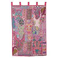 Recycled cotton blend patchwork wall hanging, 'Jaipur Classic' - Pink Recycled Cotton Blend Wall Hanging from India
