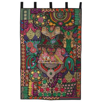 Recycled cotton blend patchwork wall hanging, 'Indian Flair' - Artisan Crafted Recycled Cotton Blend Wall Hanging