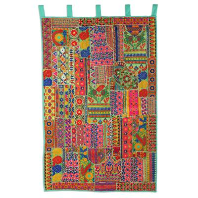 Recycled cotton blend patchwork wall hanging, 'Indian Grandeur' - Colorful Floral Recycled Cotton Blend Wall Hanging