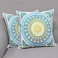 Cotton cushion covers, 'Bada Bazaar' (pair) - Embroidered Cotton Cushion Covers from India (Pair)