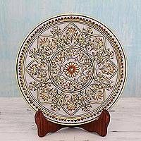 Marble plate, 'Gilded Sunflower' - Flower Theme Marble Display Plate with 22k Gold and Stand