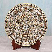 Marble plate, 'Blossoming Tree' - Makrana Marble Gold Leaf Tree Theme Plate & Stand