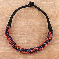 Bone torsade necklace, 'Tribal Torsade' - Colorful Bone Beaded Torsade Necklace from India