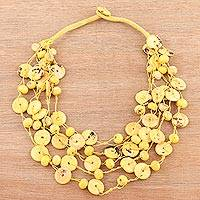 Bone torsade necklace, 'Sunny Rings' - Bone Beaded Torsade Necklace in Yellow from India